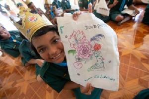 ให้ความรู้เรื่องขยะพลาสติก และผลงานเด็กที่เข้าร่วมกิจกรรม