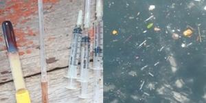 มักง่าย! พบเข็มฉีดยาใช้แล้วจำนวนมากลอยในทะเลสัตหีบ เจ้าหน้าที่เตรียมตรวจสอบหาที่มา