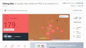 เชียงใหม่ฝุ่นควันคลุมเมือง PM 2.5 พุ่งเกินมาตรฐาน ค่ามลพิษทะยานติดอันดับโลก