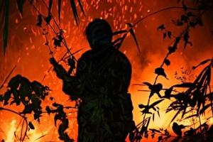 วิกฤต!! ไฟป่าในพื้นที่อุทยานแห่งชาติเขาแหลม สังขละบุรี ถูกหมอกควันปกคลุม