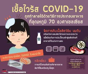 เชื้อไวรัส COVID-19 ไม่ทนความร้อน และถูกทำลายได้ด้วยวิธีการประกอบอาหารที่อุณหภูมิ 70 องศาเซลเซียส