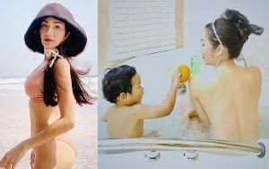 """แผ่นหลังสวยมากแม่ """"อ๋อม สกาวใจ"""" อวดผิวเนียนเปลือยกายอาบน้ำพร้อมลูก"""