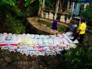 ชาวนาเมืองลุงหวั่นน้ำเค็มเข้านาข้าวเกินปริมาณ เร่งขนกระสอบทรายสร้างฝายกันน้ำ