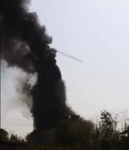 ศรัทธาตกใจร่ำไห้ระงม! ไฟไหม้พระพุทธเมตตาวัดสวนโพธิ์ทับคล้อ สูงเท่าตึก 20 ชั้นหวิดวอด