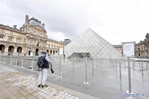 พิพิธภัณฑ์ลูฟวร์ภายหลังปิดให้บริการ (ภาพ : สำนักข่าวซินหัว)