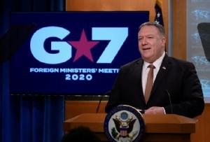 รัฐมนตรีต่างประเทศสหรัฐฯ ไมค์ พอมเพโอ เปิดแถลงข่าวหลังจากช่วงเช้าวันพุธ (25 มี.ค.) บรรดารัฐมนตรีต่างประเทศของกลุ่ม 7 ชาติอุตสาหกรรมสำคัญของโลกตะวันตก (จี7) ประชุมหารือกันผ่านระบบวิดีโอคอนเฟอเรนซ์ เกี่ยวกับวิกฤตไวรัสโคโรนา
