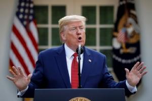 ประธานาธิบดีโดนัลด์ ทรัมป์ แห่งสหรัฐฯ เปิดแถลงข่าวเรื่องมาตรการตอบสนองวิกฤตไวรัสโคโรนาสายพันธุ์ใหม่ที่สวนกุหลาบภายในทำเนียบขาว เมื่อวันที่ 29 มี.ค.