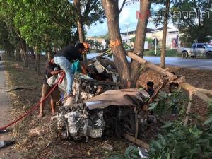 หนุ่มเมืองคอนขับรถนำพ่อทำคีโมที่หาดใหญ่ ถูกรถปาดหน้าเสียหลักชนต้นไม้ริมทางเจ็บ 2 ราย