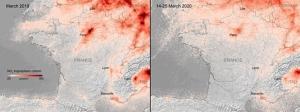 เปรียบเทียบระดับการปล่อยก๊าซเรือนกระจกในประเทศแถบยุโรป ในช่วงต้นเดือนมีนาคม (ภาพซ้าย) จะเห็นว่าระดับของมลพิษยังมาก (สีส้มเข้ม) ต่อมาช่วงปลายเดือนมีนาคม (ภาพขวา) จะเห็นมลพิษที่ลดลงอย่างเห็นได้ชัด (สีส้มเจือจางลง)