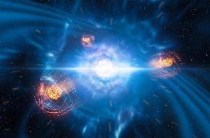 ภาพจำลองจากศิลปินจำลองเหตุการณ์สตรอนเทียมอุบัติขึ้นจากการควบรวมของดาวนิวตรอน (ESO)
