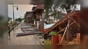 """พายุฤดูร้อนถล่ม """"เชียงคาน"""" ซ้ำเติมปิดถนนคนเดินช่วง """"โควิด-19"""" เสียหายหนักที่สุดในรอบ 10 ปี"""