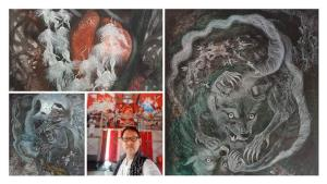 """คณพศ จันทร์คง จิตรกรสายบุญผู้ถ่ายทอดผลงาน """"โลภโมโทสัน กิเลส ตัณหา ราคะ บนโลกา"""""""