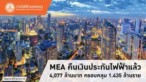 MEA คืนเงินประกันไฟฟ้าแล้ว 4,077 ล้านบาท ครอบคลุม 1.435 ล้านราย