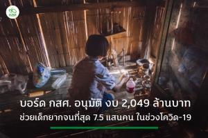 บอร์ด กสศ.ไฟเขียวงบ 2,049 ล้านบาท ช่วย นร.ยากจนพิเศษ 7.5 แสนคน ช่วงโควิด