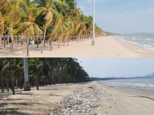 """ฟ้ากับเหว! เทียบความต่าง """"หาดบางแสน"""" ช่วงปิดโควิด-19 กับหลังเปิดเพียง 1 วัน"""