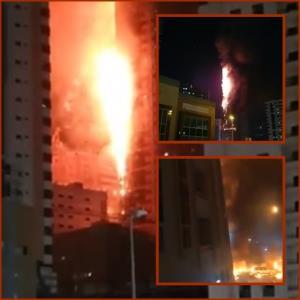 """In Clip: สุดระทึก! ไฟไหม้โหมตึกสูงระฟ้ากลาง """"ยูเอเอี"""" รับโควิด-19 คนหนีตายวุ่น บาดเจ็บหลักสิบ"""