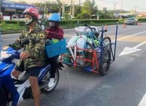 สุดยอด! ผัวเมียขี่จักรยานยนต์จากภูเก็ต กลับบ้านเกิดโคราช ล่าสุด กักตัวตามกฎหมายกำหนดแล้ว