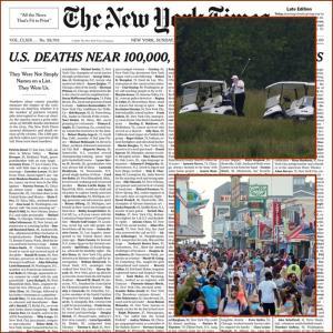 "In Clip: วันเมโมเรียลเดย์สหรัฐฯ ""นิวยอร์กไทม์ส"" อุทิศหน้าหนึ่งกางรายชื่อผู้เสียชีวิตโควิด-19 เฉียดแสน ครอบครัวอเมริกันแห่ลงหาดวันหยุด"