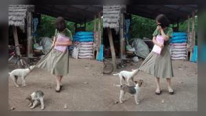 """ภาพเรียกรอยยิ้ม! ครูสาวเยี่ยมบ้าน นร. เจอสุนัขดึงกระโปรง พร้อมวลีเด็ด """"เก็บหมาให้ครูค่ะ"""""""
