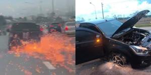ระทึกบนมอเตอร์เวย์! รถคนร้ายค้ายาหนีตำรวจ ล้อแม็กเสียดสีกับถนน-ประกายไฟท่วม (ชมคลิป)