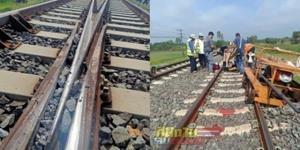 สุดพิเรนทร์! จนท.การรถไฟฯ เผยภาพมือดีนำหินไปวางในร่องบังใบ หวั่นก่อให้เกิดอุบัติเหตุได้