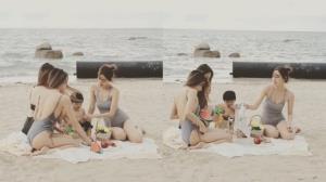 """หนุ่มๆมีอิจฉา """"น้องไทก้า"""" เที่ยวทะเลเจอสาวๆล้อม"""
