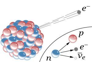 ภาพการสลายตัวของนิวตรอน เป็นโปรตอน และปลดปล่อยอิเล็กตรอน