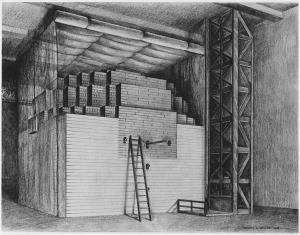 แผนภาพเตาปฏิกรณ์นิวเคลียร์เครื่องแรก โดย Enrico Fermi เพื่อสร้างปฏิกิริยาลูกโซ่