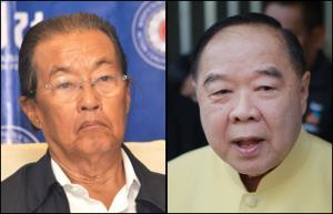 (ขวา) พล.อ.ประวิตร วงษ์สุวรรณ รองนายกรัฐมนตรี และประธานยุทธศาสตร์พรรคพลังประชารัฐ (ซ้าย) ม.ร.ว.จัตุมงคล โสณกุล หัวหน้าพรรครวมพลังประชาชาติไทย และรัฐมนตรีว่าการกระทรวงแรงงาน
