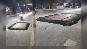 เตือน! ผู้ขับขี่ย่าน ถ.เพชรเกษม พบการซ่อมผิวถนนลาดยางมะตอยนูนขึ้นบนผิวจราจร หวั่นก่อให้เกิดอุบัติเหตุ