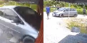 หนีไม่รอด! กล้องวงจรปิดจับภาพฮอนด้าแจ๊ซพุ่งเข้าชนบ้านก่อนขับหนี เจ้าของบ้านโพสต์กลับมารับผิดชอบ