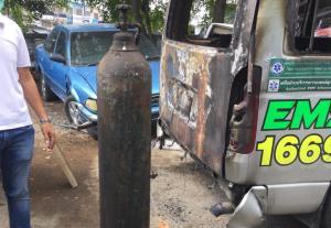 สมอ.เตือนอย่าใช้ถังผิดประเภท หวั่นซ้ำรอยไฟไหม้รถกู้ภัยที่สุพรรณบุรี