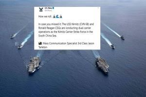"""In Clip: เพนตากอนสั่งทหารสหรัฐฯซ้อมรบกลางทะเลจีนใต้ """"สวมหน้ากากอนามัยทุกคน"""" อเมริกาตะลึง เคสโควิด-19 เพิ่มใหม่วันเดียวทะลุ 60,000 ราย"""