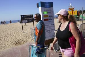 ผู้คนที่มาถึงชายหาด เดินผ่านแผ่นป้ายของระบบซึ่งแสดงสัญญาณให้ทราบว่าเวลานี้ชายหาดมีคนแออัดแค่ไหน ณ ชายหาดในเมืองโอเอรัส นอกกรุงลิสบอน ประเทศโปรตุเกส เมื่อวันพุธ (15 ก.ค.) ระบบนี้ใช้เรดาร์นับจำนวนคนที่ผ่านประตูเข้าสู่หาดซึ่งมีการล้อมรั้วเอาไว้ เพื่อช่วยให้ผู้มาพักพ่อนสามารถรักษากฎการเว้นระยะห่างทางสังคมได้