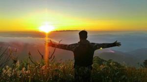รับพลังจากแสงตะวันยามเช้า (ภาพ : วัชรพล แซ่เจี่ย หน.อช.ต้นสักใหญ่)