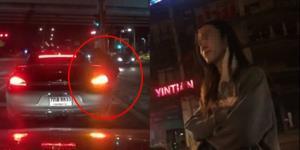 สาวโวยเกือบโดนรถหรูเหยียบเท้า หลังขยับรถตัดความรำคาญโดนเกาะกระจกขอเงิน