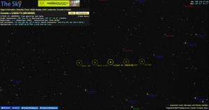 ตัวอย่างหน้าเว็บไซต์ Theskylive.com ที่แสดงข้อมูลตำแหน่งดาวหาง