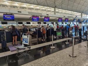 การบินไทยรับ 155 คนไทยเดินทางกลับจากฮ่องกงถึงสุวรรณภูมิ เมื่อ 23 ก.ค.