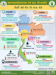 อุตุฯ เผย เหนือ-อีสาน-ตะวันออก-ใต้ เตือนฝนถล่ม-ระวังอันตราย กทม.ฝนฟ้าคะนองร้อยละ 40
