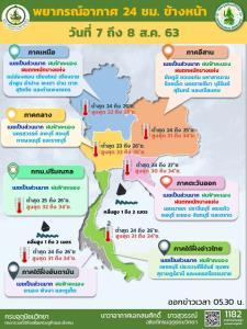 ฝนตกต่อเนื่องทั่วไทย! เหนือ-อีสาน-ตะวันออก โดนหนัก เตือนระวังอันตราย กทม.ฝนฟ้าคะนองร้อยละ 40