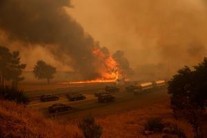 In Pics: สยอง! ฟ้าผ่ากว่า 10,000  ครั้งทำ 'ไฟป่า' แคลิฟอร์เนียปะทุหนัก คนอพยพหนีตายหลายหมื่น