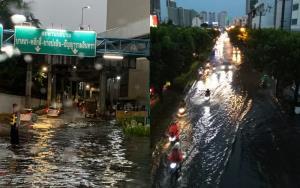 เย็นวันศุกร์! ฝนตกกระหน่ำ กทม.ถนนหลายสายน้ำท่วมขัง-รถติดหนักเป็น ชม.