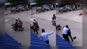 แห่แชร์! เหตุวินหัวร้อนถูกเตือนขี่รถย้อนศร ฉุนจัดต่อย รปภ.สำนักงานประปา (ชมคลิป)