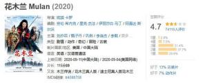 คะแนน Mulan จากผู้ชมชาวจีน