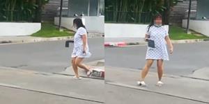 สาวปริศนาวิ่งลงถนนให้รถชนในซอยรางน้ำ ทำผู้พบเห็นแตกตื่น แต่ยังโชคดีไม่มีใครได้รับอันตราย