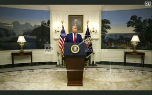 ประธานาธิบดีโดนัลด์ ทรัมป์ ของสหรัฐฯ กล่าวปราศรัยแบบบันทึกเอาไว้ก่อนในการประชุมประจำปี ของสมัชชาใหญ่สหประชาชาติ วันอังคาร (22 ก.ย.)
