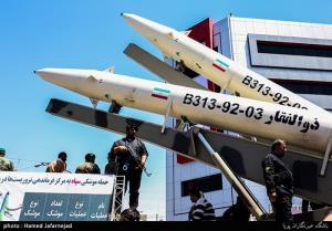 """ขีปนาวุธ """"โซลฟาการ์"""" เวอร์ชั่นดั้งเดิมของอิหร่าน ที่เป็นแบบยิงจากพื้นสู่พื้น ถูกนำออกมาอวดเมื่อวันที่ 23 มิ.ย. 2017 (ภาพจากวิกิพีเดีย)"""