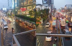 ฝนวันศุกร์! ตกหนักหลายพื้นที่น้ำขังสูง หน้าเดอะมอลล์ งามฯ-ประชาชื่น ถึงฟุตปาธ จราจรติดขัด
