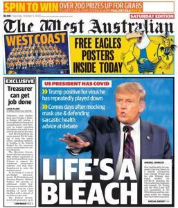 """In Clip : ทรัมป์ติดโควิด-19 ทำ รัฐบาลทั่วเอเชียสุดวิตก รวมออสเตรเลียถึงขั้นพาดหัวหน้าหนึ่งล้อ """"ชีวิตของน้ำยาฆ่าเชื้อ"""""""