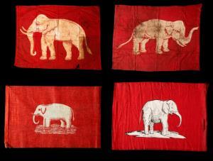 รูปแบบธงช้างเผือกในลักษณะต่างๆ ที่เริ่มมีการใช้ตั้งแต่รัชกาลที่ ๓ จนถึง รัชกาลทื่ ๖ (ภาพ: เว็บไซต์พิพิธภัณฑ์ธงชาติไทย artsandculture.google.com/partner/thai-flag-museum)
